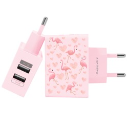 Carregador Personalizado Rosa iPhone/Android Duplo USB de Parede Gocase - Flamingos