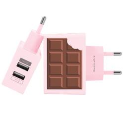 Carregador Personalizado Rosa iPhone/Android Duplo USB de Parede Gocase - Chocolate