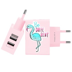 Carregador Personalizado Rosa iPhone/Android Duplo USB de Parede Gocase - Blue Flamingo