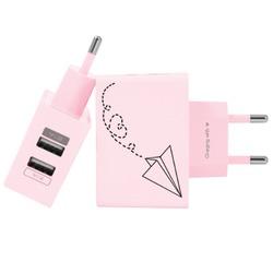 Carregador Personalizado Rosa iPhone/Android Duplo USB de Parede Gocase - Avião de Papel