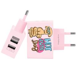 Carregador Personalizado Rosa iPhone/Android Duplo USB de Parede Gocase - Hot Cute Dog