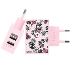 Carregador Personalizado Rosa iPhone/Android Duplo USB de Parede Gocase - Bem Floral