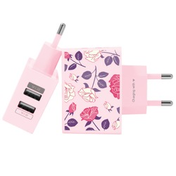 Carregador Personalizado Rosa iPhone/Android Duplo USB de Parede Gocase - Decor
