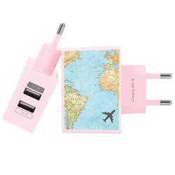 Carregador Personalizado Rosa iPhone/Android Duplo USB de Parede Gocase - Mapa Mundi