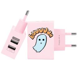 Carregador Personalizado Rosa iPhone/Android Duplo USB de Parede Gocase - Fantasminha