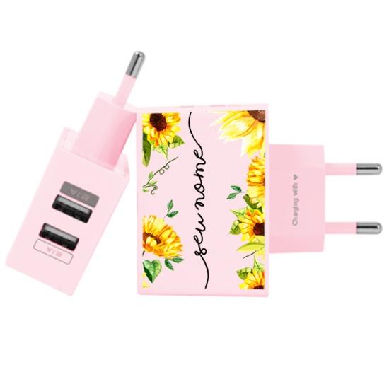 Carregador Personalizado Rosa iPhone/Android Duplo USB de Parede Gocase - Próprio Sol Manuscrita by Bruna Vieira