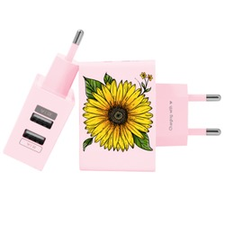Carregador Personalizado Rosa iPhone/Android Duplo USB de Parede Gocase - Girassol Decor