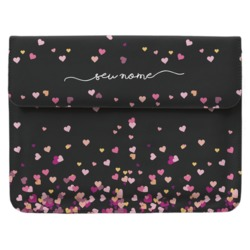 Case Clutch Notebook Personalizada - Corações Flutuantes Black Manuscrita