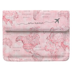Case Clutch Notebook - Mapa Mundi Rosa Manuscrita