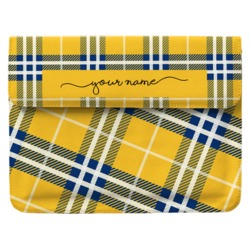 Case Clutch Notebook - Yellow Plaid Handwritten