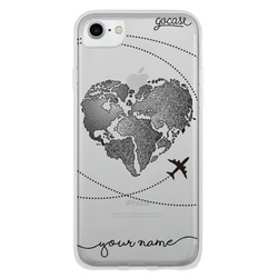 World Map Heart (Black) Phone Case