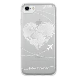 Capinha para celular Coração Mapa Mundi (White)