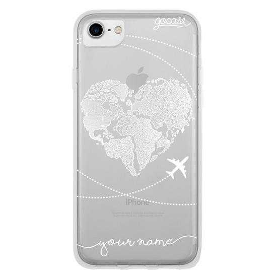 World Map Heart (White)