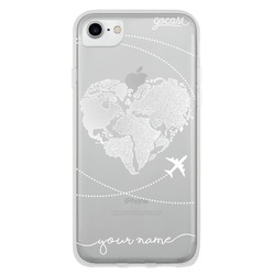 World Map Heart (White) Phone Case