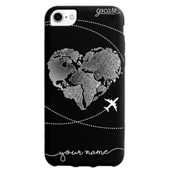 Black Case - World Map Heart Phone Case