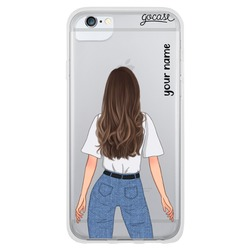 Olivia - White Long Brown Phone Case