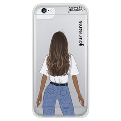 Olivia - Black Long Brown Phone Case