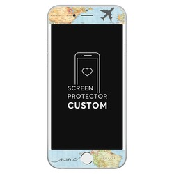 World Map White Screen Protector - Tempered Glass