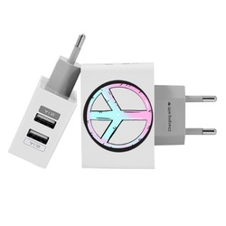 Customized Dual Usb Wall Charger for iPhone and Android - Peace And Love