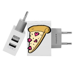 Customized Dual Usb Wall Charger for iPhone and Android - Pizza