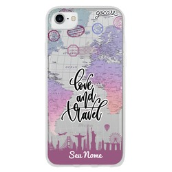 Capinha para celular Love and Travel Clean Customizada