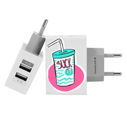 Customized Dual Usb Wall Charger for iPhone and Android - Suck It