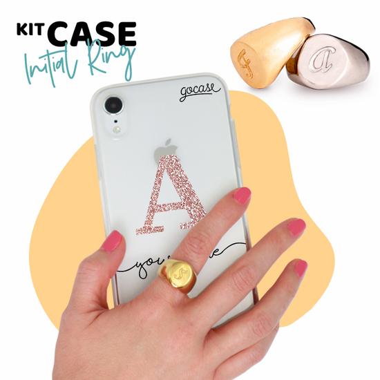 Kit Ring Gold (size 17) + Initial Glitter