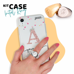 Kit Ring Silver (size 17) + Hearts Handwritten Initial Glitter