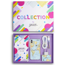 Kit World Map Travel Handwritten (Case + wall charger + cable + collection box)