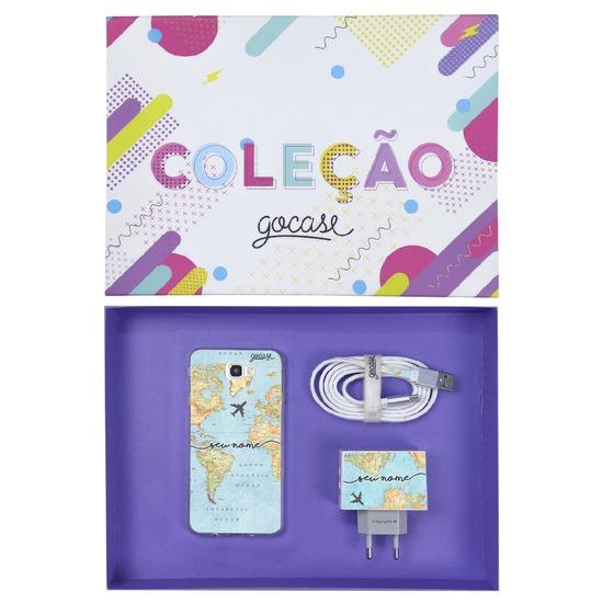 Kit Mapa Mundi (Case Android + Cabo Micro USB + Carregador Duplo + Caixa Minha Coleção)