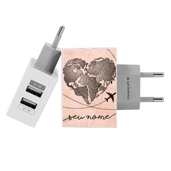 Carregador Personalizado iPhone/Android Duplo USB de Parede Gocase - Coração Mapa Mundi Vintage