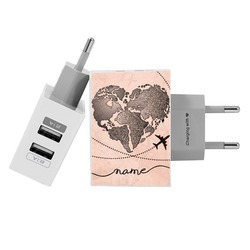 Customized Dual Usb Wall Charger for iPhone and Android - World Map Heart Vintage
