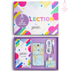 Kit World Map Travel Handwritten (Samsung Case + wall charger + cable Micro USB + collection box)