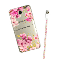 Kit Android Rose Gold Manuscrita (Capinha + Cabo Micro USB)