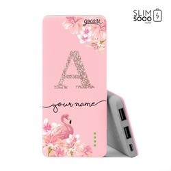 Power Bank Slim Portable Charger (5000mAh) Pink - Flamingo Glitter