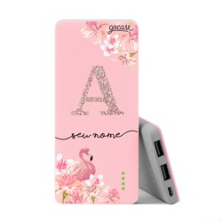 Carregador Portátil Power Bank Slim (5000mAh) Rosa - Flamingo Glitter