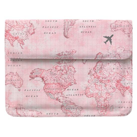 Case Clutch Notebook - Mapa Mundi Rosa Manuscrita