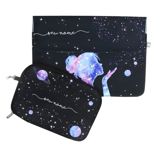 Kit Capa para Notebook 13'' + Porta Acessórios - Poeira das Estrelas Manuscrita