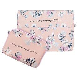 Kit Capa para Notebook 13'' + Porta Acessórios - Bem Floral Manuscrita