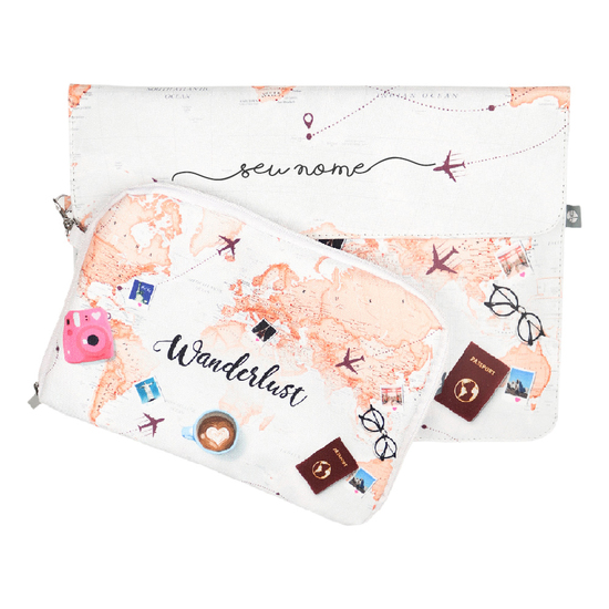Kit Capa para Notebook 13'' + Porta Acessórios - World Trip Manuscrita