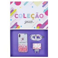 Kit Corações Flutuantes (Case iPhone + Cabo iPhone Lightning + Carregador Duplo + Caixa Minha Coleção)