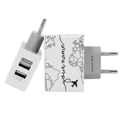 Customized Dual Usb Wall Charger for iPhone and Android - World Map Lines Handwritten