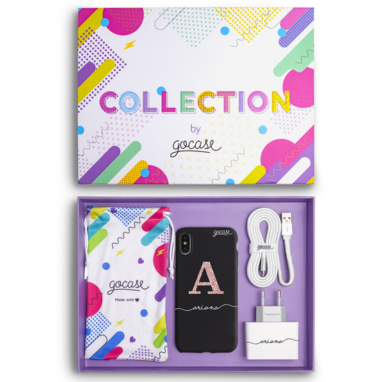 Kit Black Case Initial Glitter (Case + wall charger + cable + collection box)