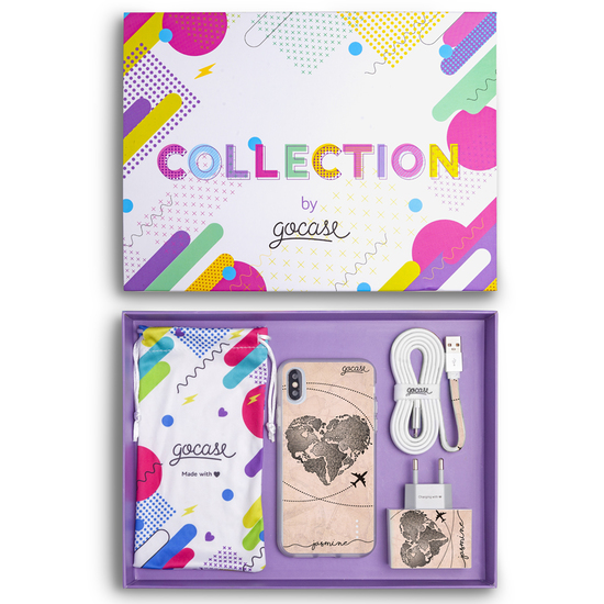 Kit World Map Heart Vintage (Case + wall charger + cable + collection box)