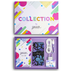 Kit Black Case Purple Handwritten (Case + wall charger + cable + collection box)