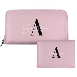 Carteira Saffiano Personalizada - Pink Basic - Iniciais Fancy