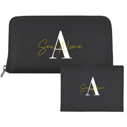 Carteira Saffiano Personalizada - Black Basic - Iniciais Fancy
