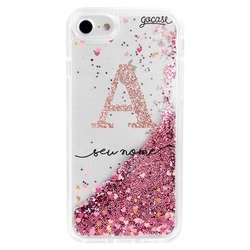 Glitter Flow - Hearts Handwritten Initial Glitter Phone Case