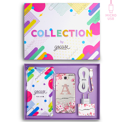 Kit Cherry Petals Initial Glitter (Samsung Case + wall charger + cable Micro USB + collection box)