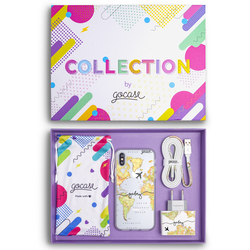 Kit World Map Blank Travel Handwritten (Case + wall charger + cable + collection box)